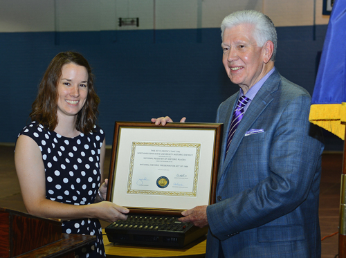 Jessica Richardson, National Register coordinator for Louisiana's Division of Historic Preservation, presented an official listings certificate to Northwestern State University President Dr. Randall J. Webb that recognizes the expanded Northwestern State University Historic District.  Portions of the campus included in the District are the original Normal Hill, as well as structures built between 1884 and 1955 recognized by the National Register of Historic Places, as determined by the U.S. Department of the Interior and the National Park Service.