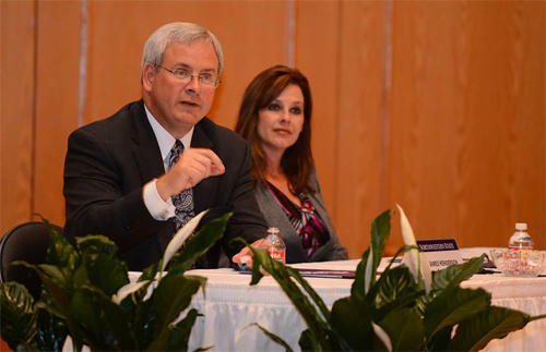 Dr. James Henderson and wife, Tonia, address the Northwestern Presidential Search Committee.