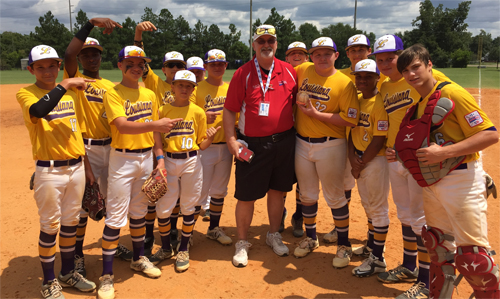 Team Louisiana with the Louisiana State Director Keith Powell. Director Powell was presenting Ashton Jeansonne with his home run ball. Ashton hit a 2 run shot over left center. 330 ft fences.