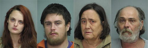 Left to right: 24-year-old Kaitlyn Charrier Gibson, 25-year-old Joshua Lee Charrier, 55-year-old Wanda Gail Charrier and Raymond Donald Hughes Junior