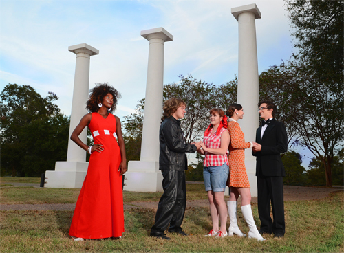 "The iconic columns at Northwestern State University will be the setting when Northwestern Theatre and Dance uses a 1960s setting for Shakepeare's ""As You Like It"" Nov. 5 – 7 and 12 – 14 at 6 p.m. on Normal Hill near Russell Hall. Members of the cast include, from left, Ne'Ambri Owens of Mansfield, Austin Aschbrenner of Beebe, Arkansas, Shannon Harger of Baton Rouge, Hally Lambert of St. Amant and Jay Canova of Marrero."