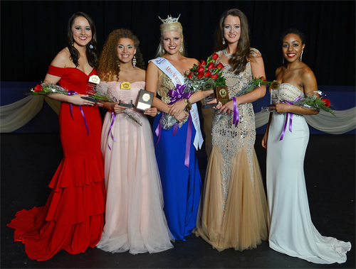 Top finishers in the 2016 Miss Northwestern – Lady of the Bracelet pageant were, from left, third runner up Hannah Teutsch of Haughton, first runner up Chelsey Goldsmith of Edmond, Oklahoma, 2016 Miss Northwestern Lady of the Bracelet Marissa McMickens of Pineville, second runner up Faith Stanfield of Natchitoches and fourth runner up Skilynn Fontenot of Eunice.
