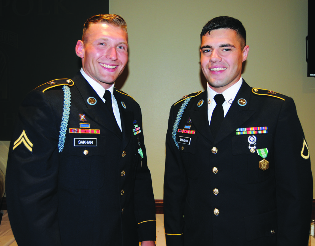 Cpl. Boguslaw Sakhan (left) is the Non-commissioned Officer of the Year and Pfc. Collin Morgan is the Soldier of the Year for 2016 at the Joint Readiness Training Center and Fort Polk. Both Soldiers are from 2nd Battalion, 2nd Infantry Regiment, 3rd Brigade Combat Team, 10th Mountain Division.