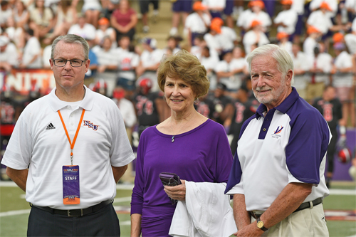 "The Glenn & James R. ""Bucky"" Talbert Scholarship is the latest to be created supporting Northwestern State Athletics as part of the Perpetually Purple initiative of the Demons Unlimited Foundation. Director of athletics Greg Burke stands with Martha Kay Talbert Smiley, who was married to Bucky Talbert, and Glenn Talbert at NSU's first home football game after the scholarship was announced."