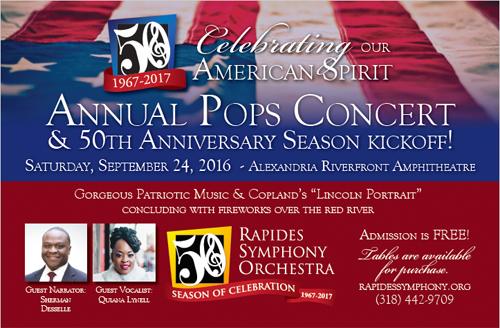 "Rapides Symphony Kicks Off 50th Season with ""Pops"" Concert"
